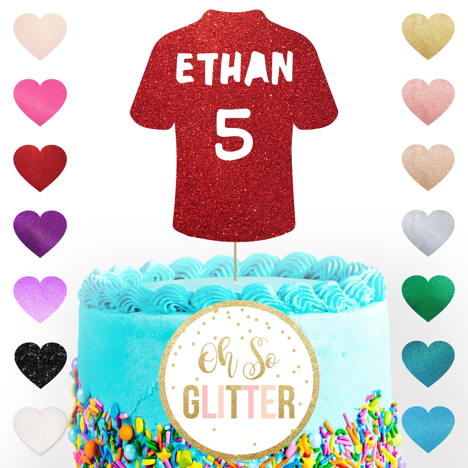 Image of Football Shirt - customised glittter cake topper
