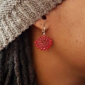 Image of HALF-MOON EARRINGS - Dark Red Coral