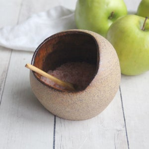 Image of Salt Cellar with Raw Stone Surface, Pottery Salt Pig in Speckled Stoneware Made in USA