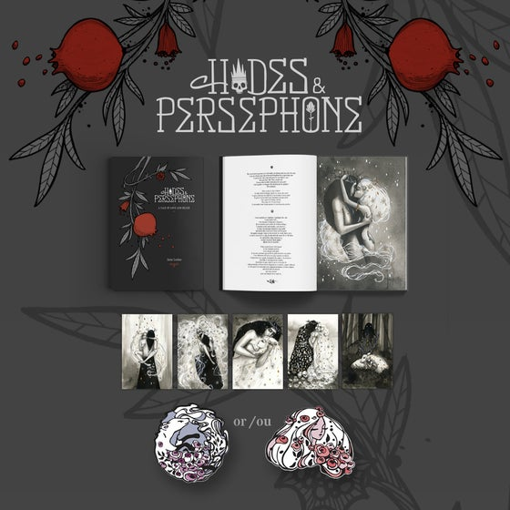 "Image of PRE-ORDER ""Hades & Persephone"" Signed/Dedicated Book + Enamel Pin + 5 Postcards"