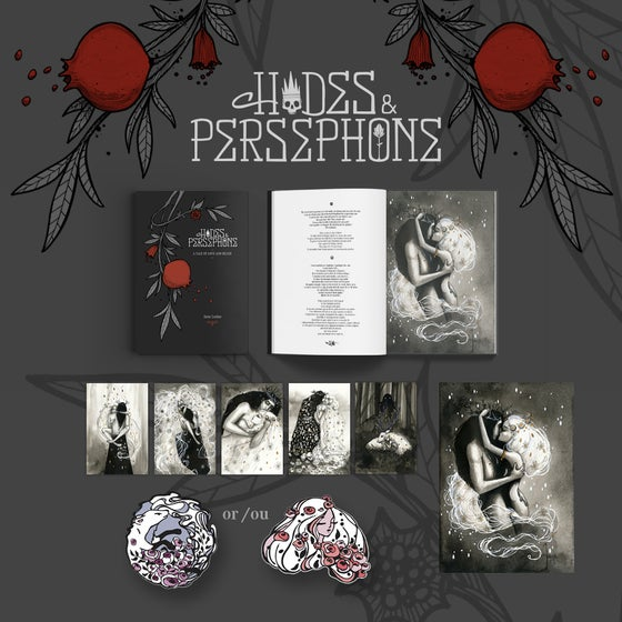 "Image of PRE-ORDER ""Hades & Persephone"" Signed / Dedicated Book + 1 Print + Enamel Pin + 5 Postcards"
