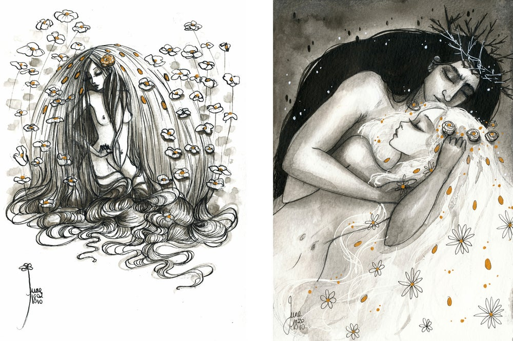"Image of PRE-ORDER ""Hades & Persephone"" Signed / Dedicated Book + 1 Print + Enamel Pin + 5 Postcards"