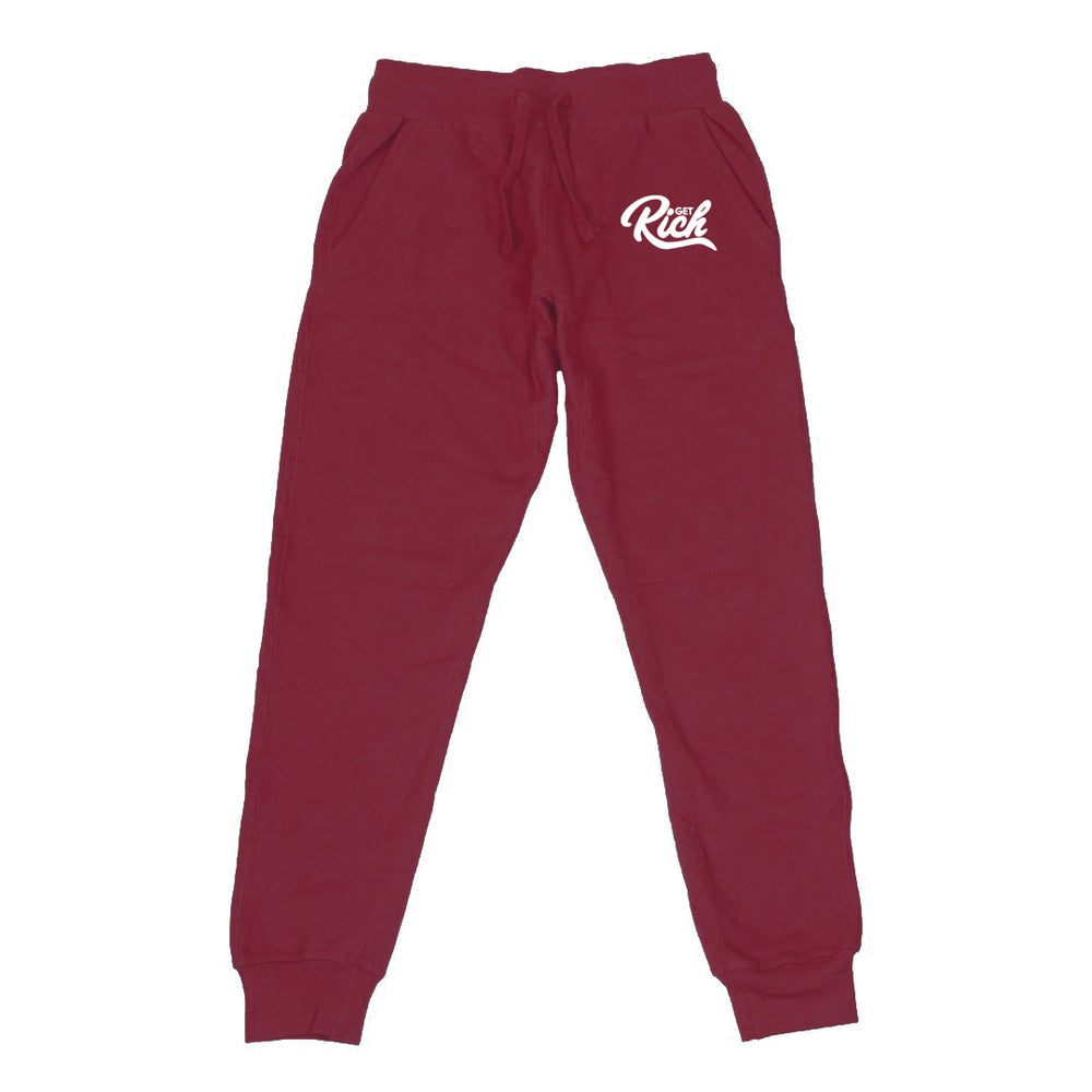 Image of Get Rich - Men's Joggers (Burgundy)