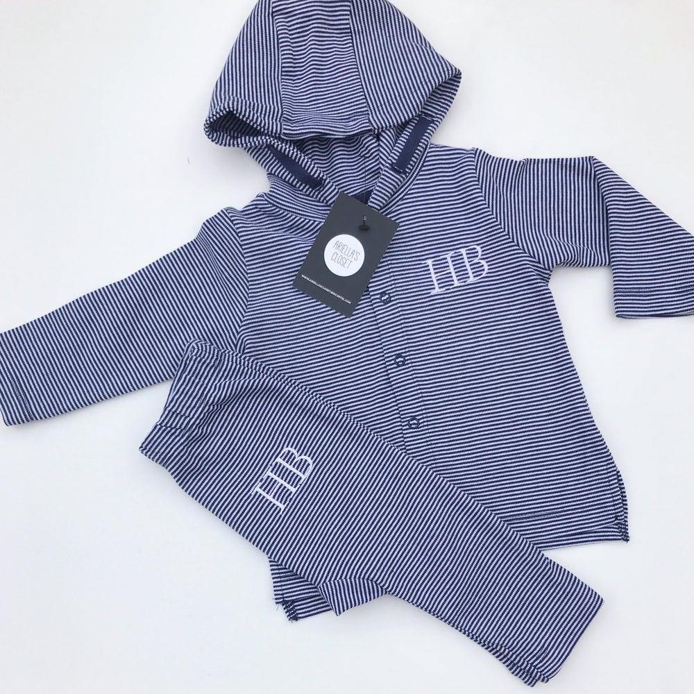 Image of STRIPED EMBROIDERED INITIALS BABY LOUNGE SET