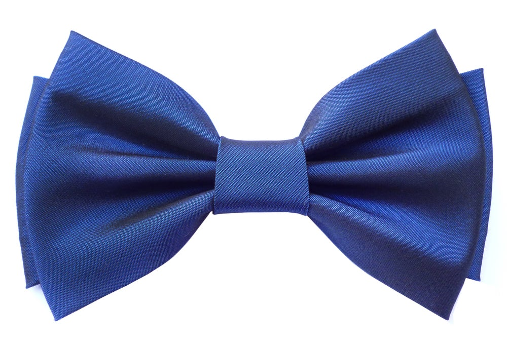 Image of Blue satin pre-tied bow tie