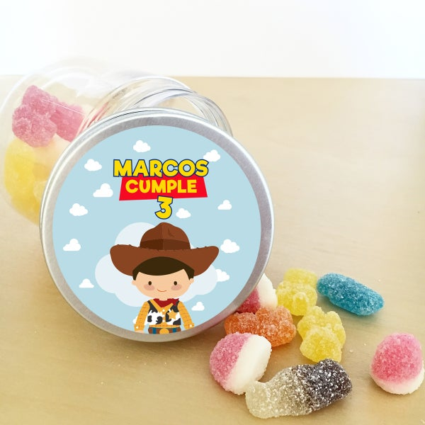 Image of Tarritos de chuches cumple - Toy Story Woody
