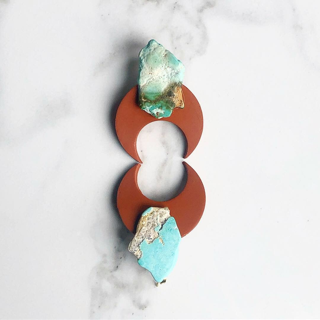 Image of terracotta clay + raw turquoise