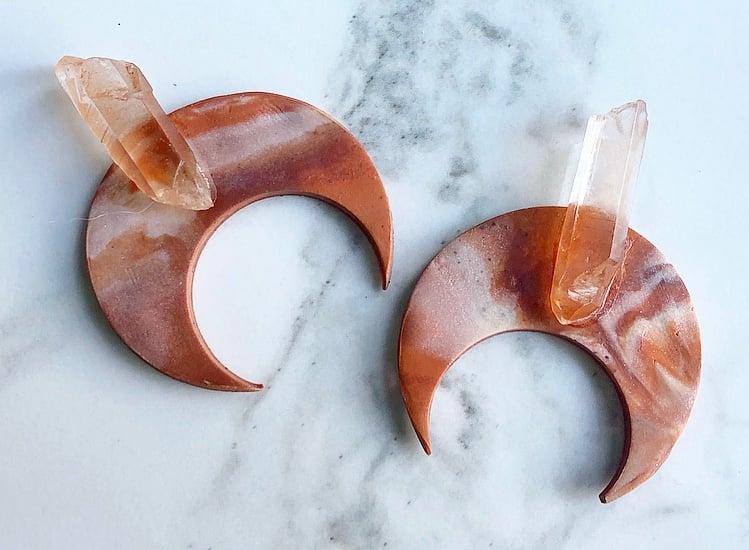 Image of mars-marbled clay + tangerine quartz, turquoise or jasper
