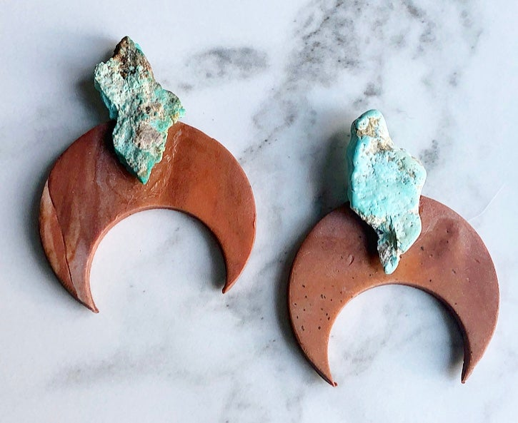 Image of mars-marbled clay + tangerine quartz, turquoise or jasper