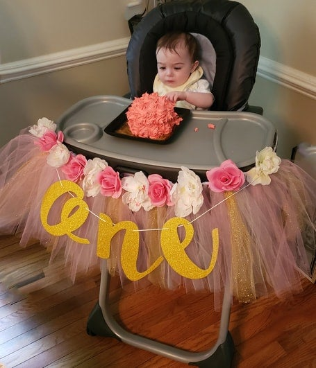 Image of Highchair or Wall Banner- One Year