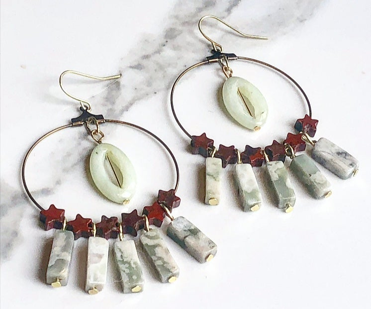 Image of red jasper + aventurine + tree agate tassels + brass hoops