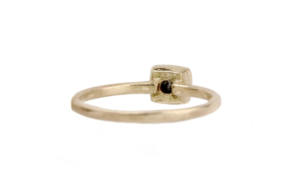 Image of Minimal engagement ring. Charcoal grey diamond. Gerta