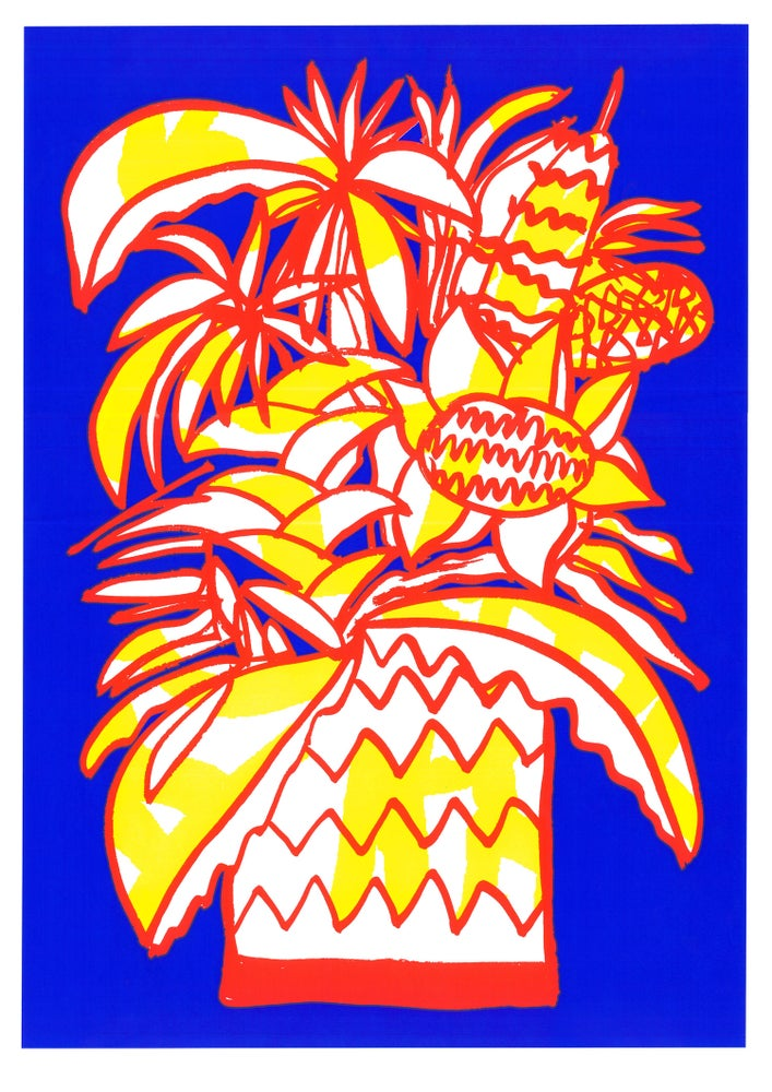 Image of Flowerpot Screenprint Blue A2
