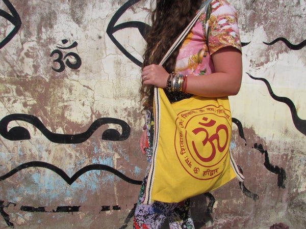 Image of Yellow OM Tote Bag w/ Zip | Eco Friendly | Reusable | Shopping Bag | Canvas Bag | Meditation |