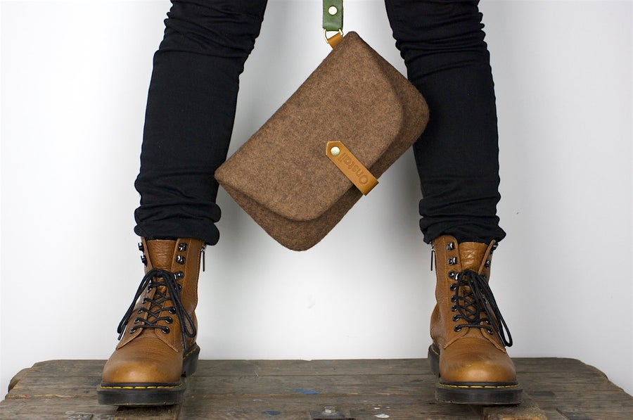 Image of Unique Felt Clutch. Eco brown felted purse with the leather strap. Felted wool bag by onstail.