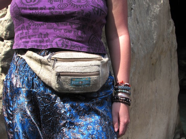 Image of Organic Pure Hemp Bumbag | 100% Vegan | Eco Friendly | Handmade | Money Belt | Himalayan Hemp