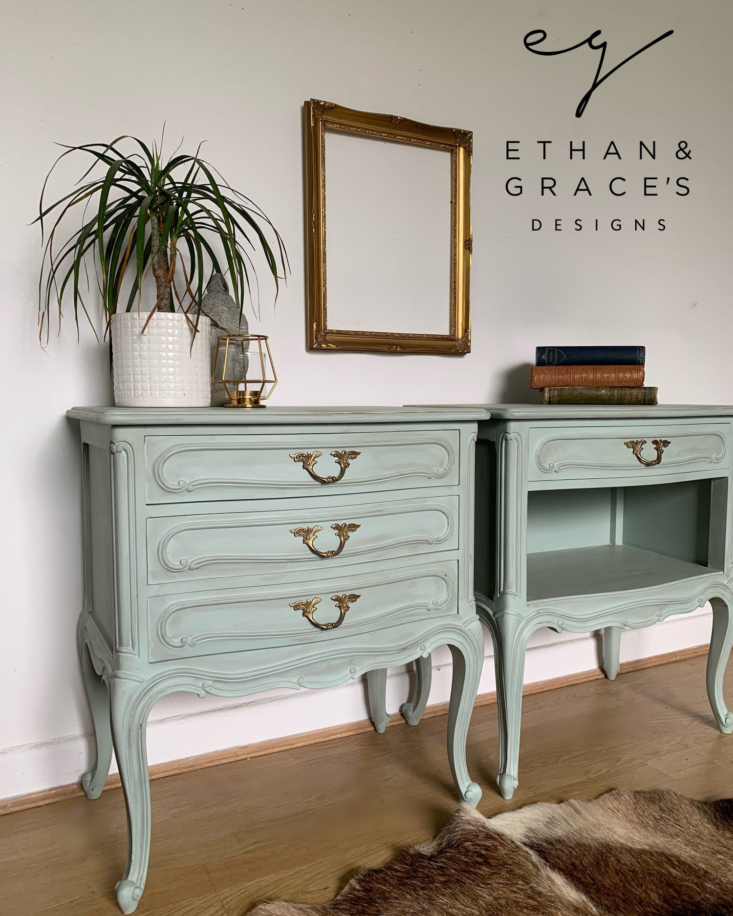 Image of French wooden bedside tables in a pale green with dark wax