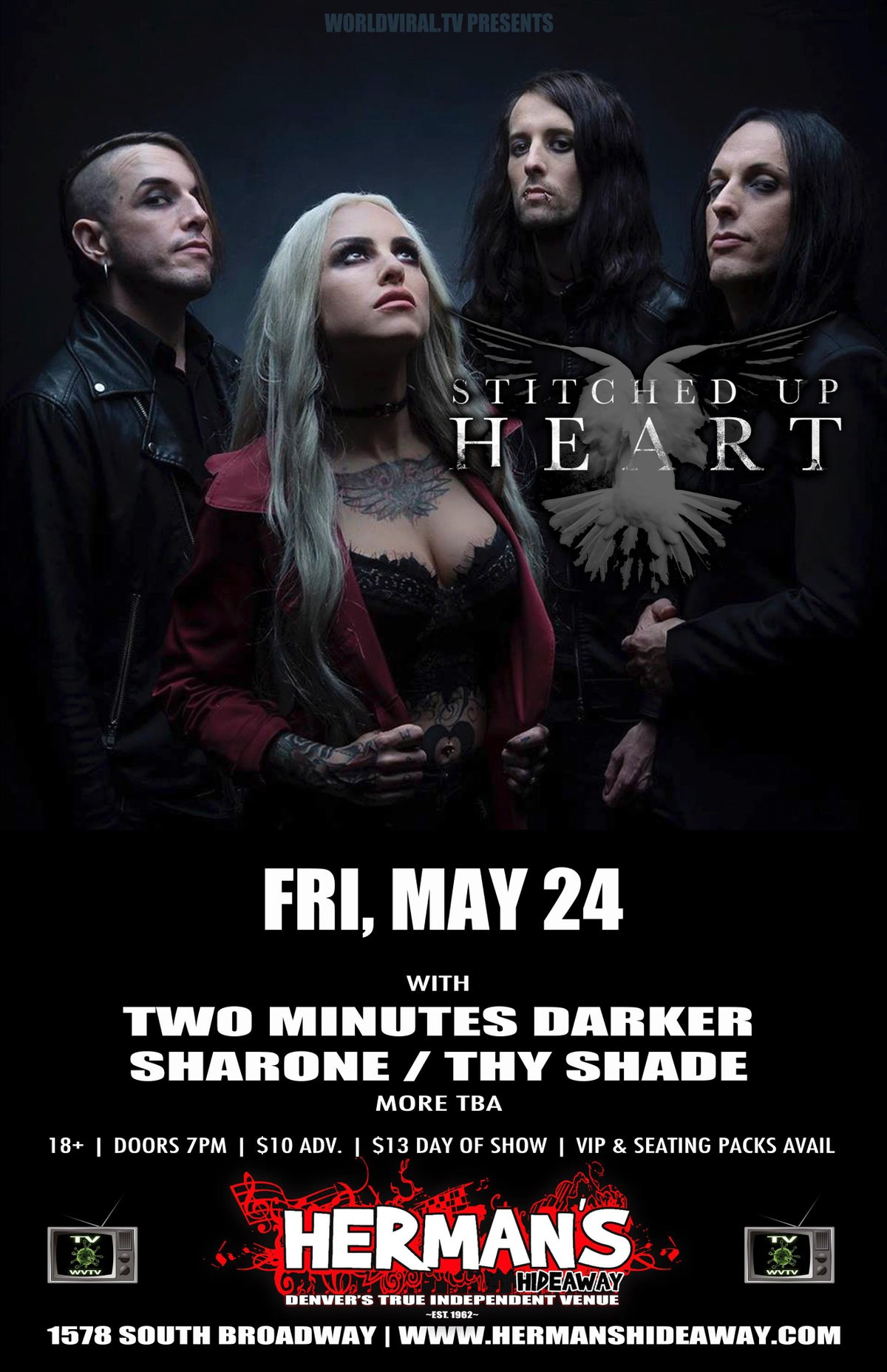 Image of Tickets to Sharone with Stitched Up Heart at Herman's Hideaway