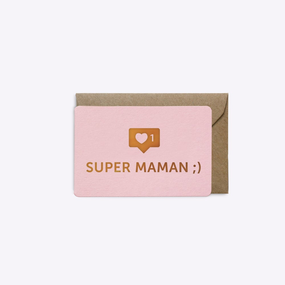 Image of MINI-CARTE SUPER MAMAN rose