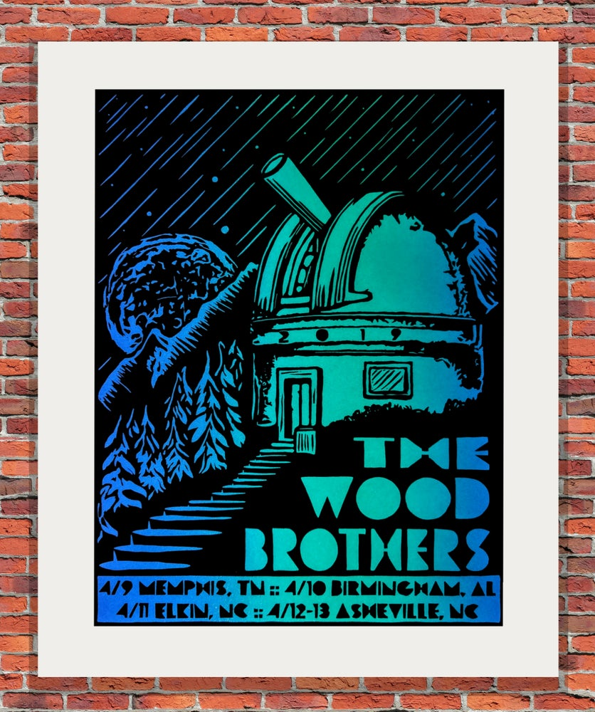 "Image of ""Sky High"" Blue and Green - The Wood Brothers Tour Print"