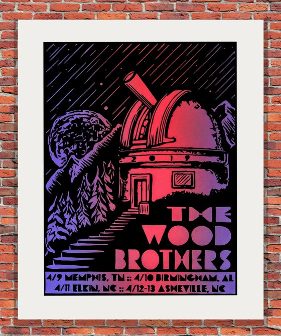 "Image of ""Sky High"" Red and Purple - The Wood Brothers Tour Print"
