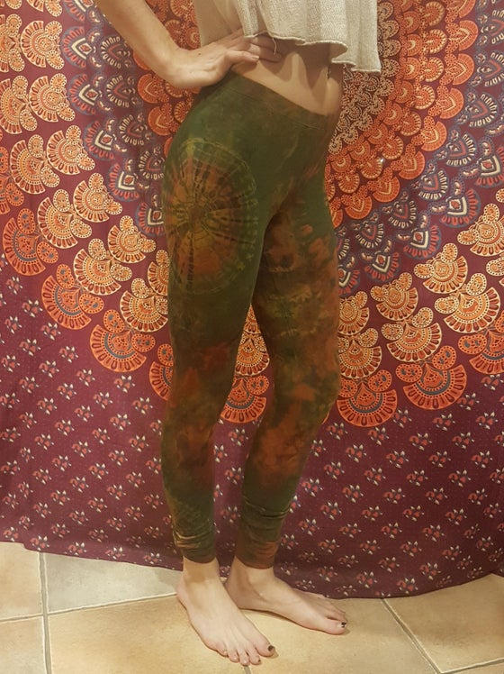 Image of Tie-Dye Leggings Green