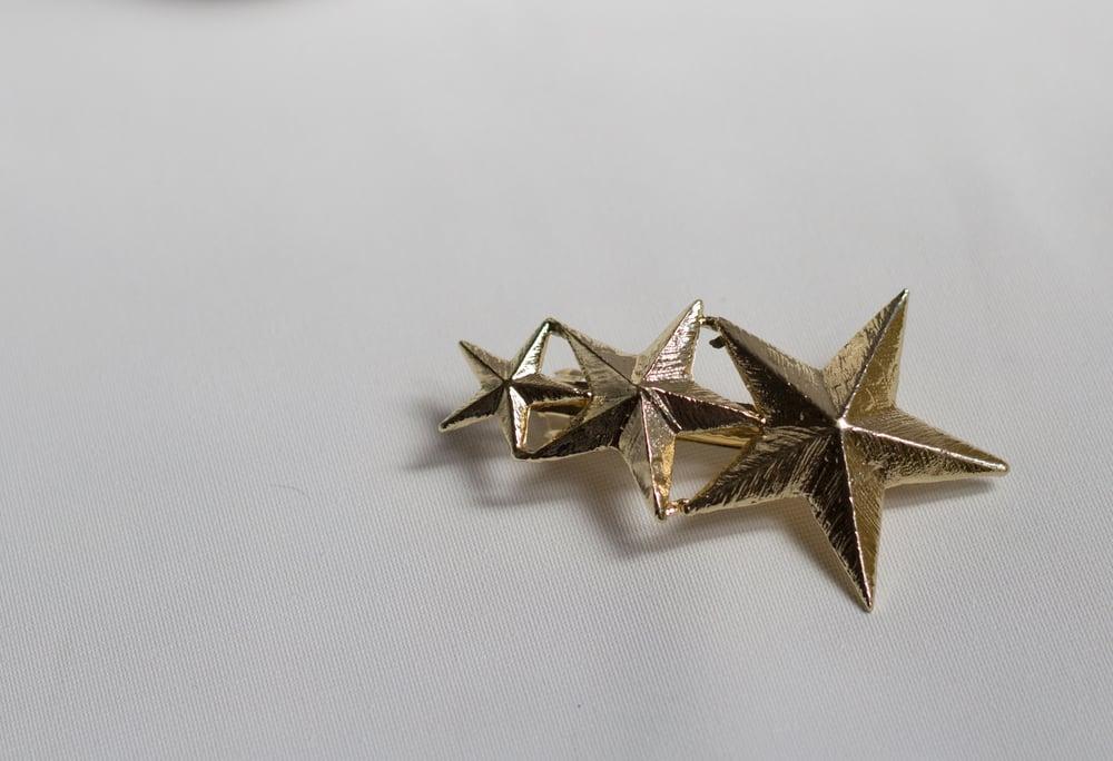 Image of Pasador metálico estrella y plumas