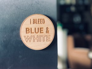 Image of Bleed blue and white wood Magnet/Coaster