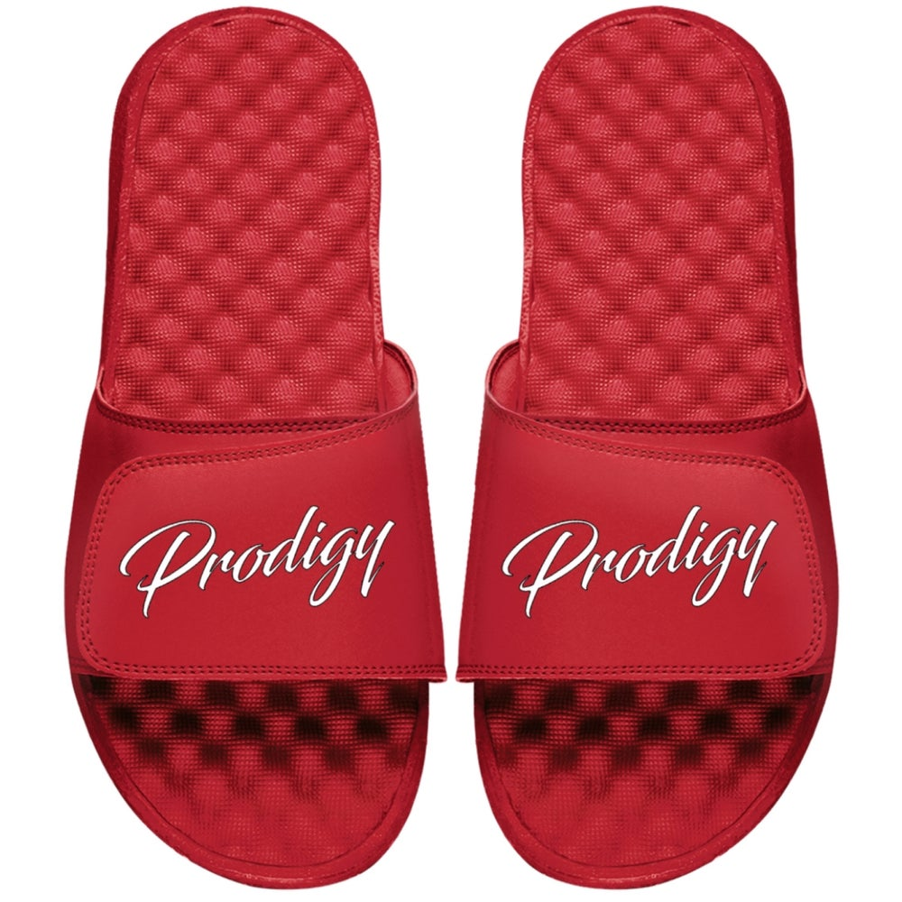 NEW RED PRODIGY SCRIPT SLIDES WHITE INK