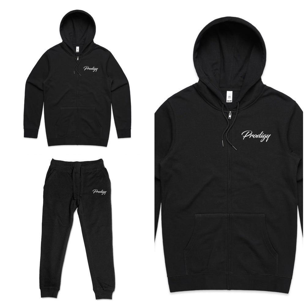 NEW BRAND PRODIGY BLACK FULL SCRIPT EMBROIDERED JOGGER SUIT