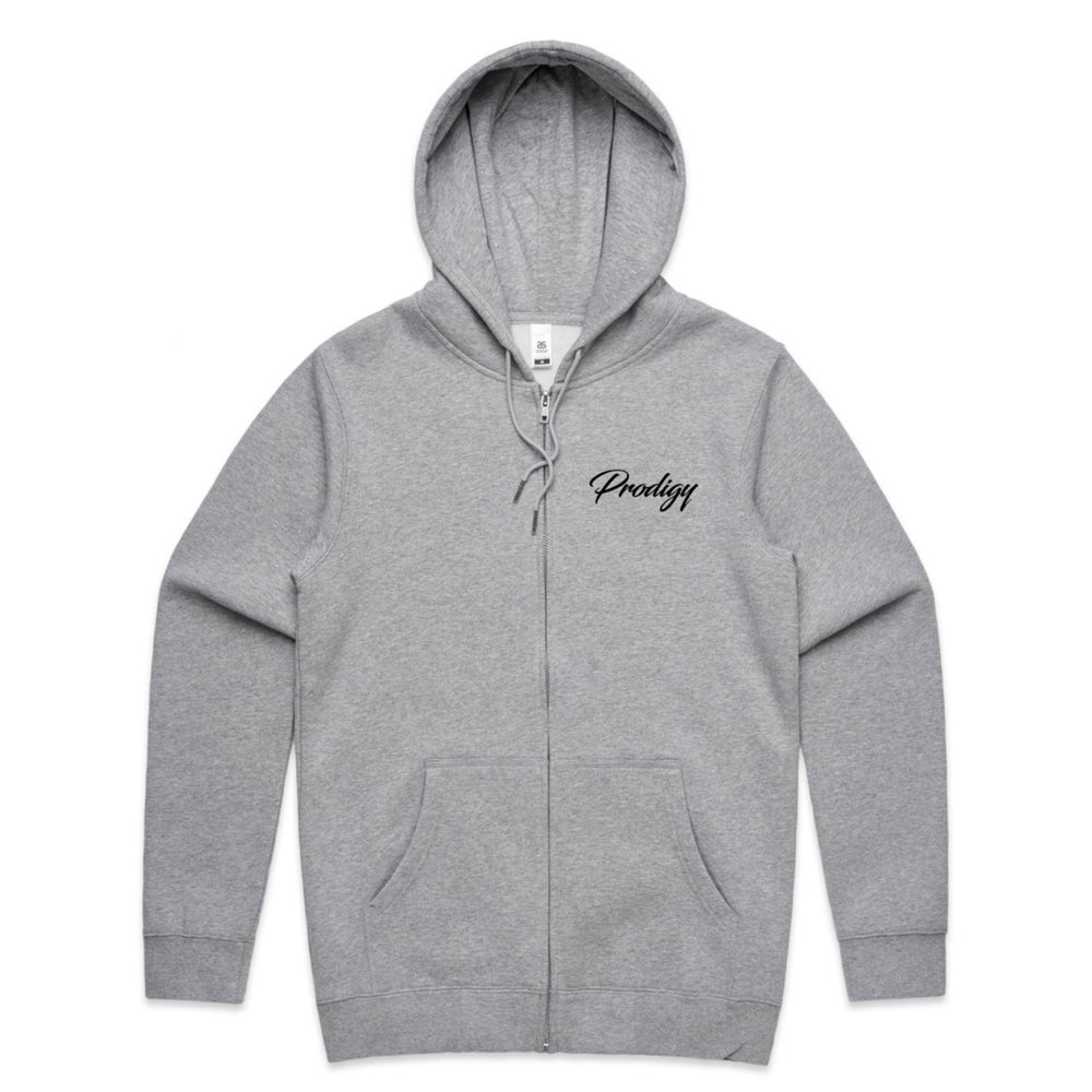 NEW BRAND PRODIGY GREY ZIP UP HOODIE FULL  SCRIPT EMBROIDERED