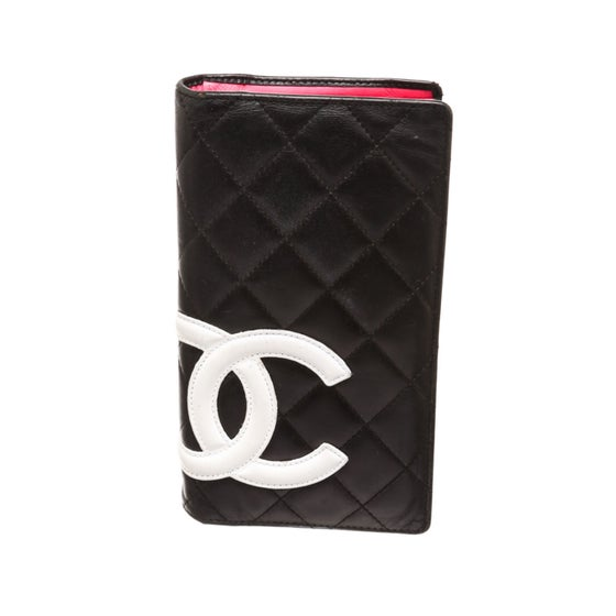 Image of Chanel Black Quilted Leather White CC Long Wallet