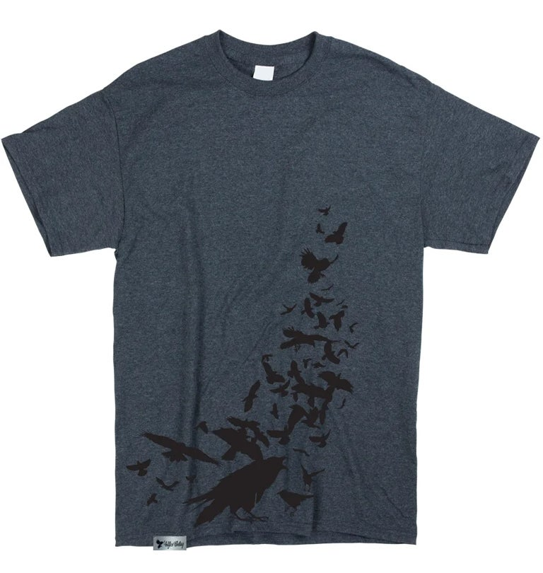 Image of EDIFICE CLOTHING QUARRUM MEN'S 1 COLOR HAND PRINTED ON HEATHER GRAY SHORT SLEEVE SM-XXL