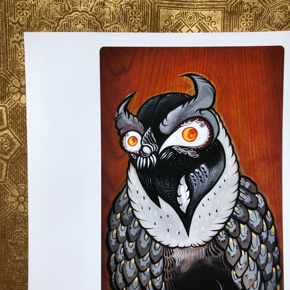 Image of Owl Crown Print