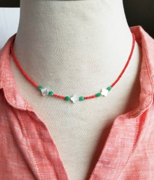 Image of Coral and Clover Necklace