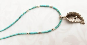Image of Tiny Turquoise and Silver Fauna Necklace