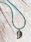 Tiny Turquoise and Silver Fauna Necklace