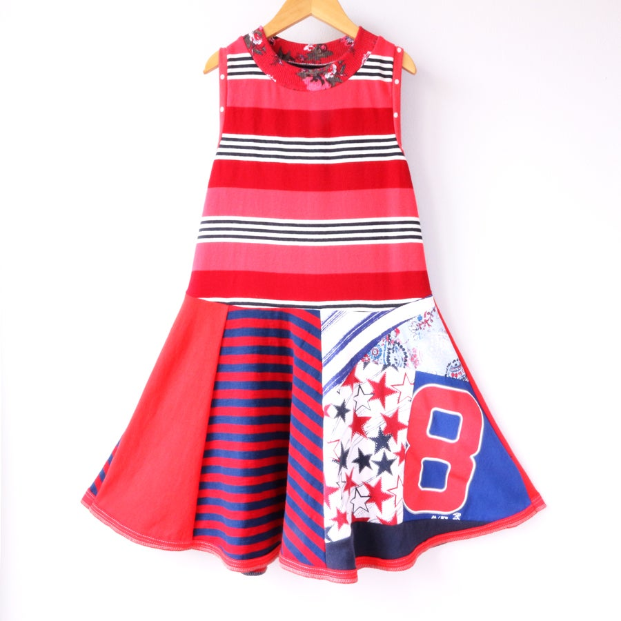Image of red white pink and blue eight 8/10 8 eighth 8th birthday blue twirly bday stripes stars tank dress