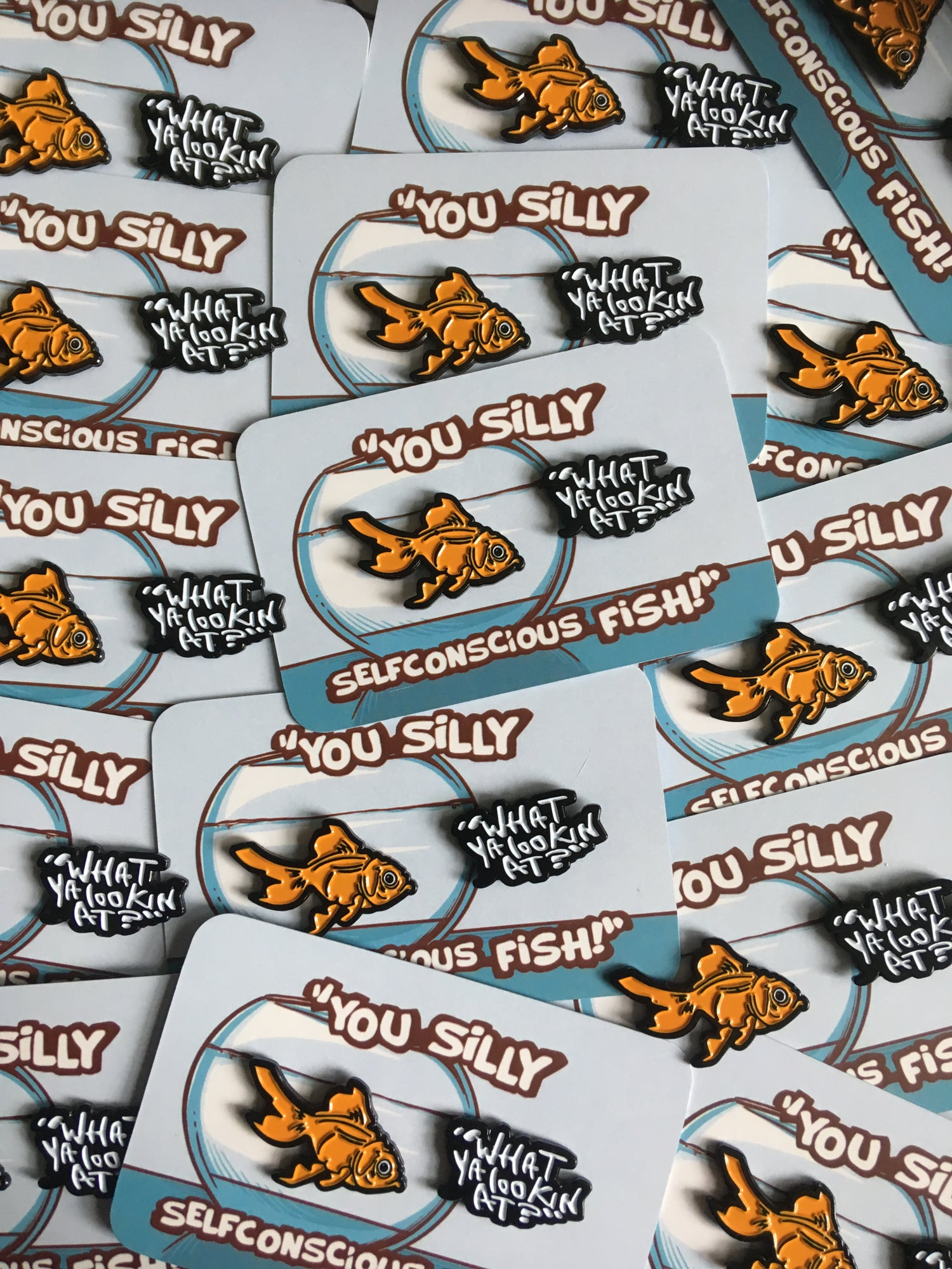 Image of You silly self conscious fish pin set