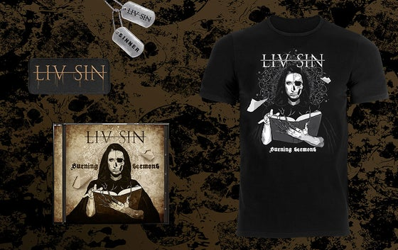 Image of Liv Sin - The Sinner Package ( CD/T-Shirt/Patch/Dog tags)