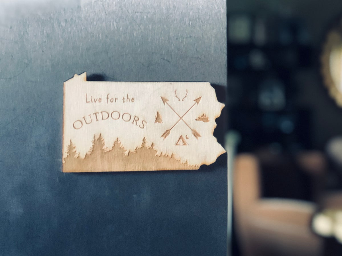 Image of Live Outdoors PA Wood Magnet