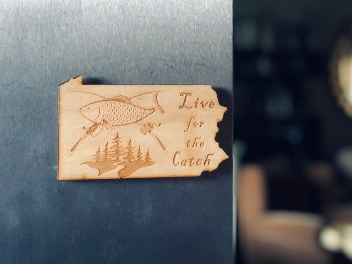 Image of Live to Fish PA Wood Magnet