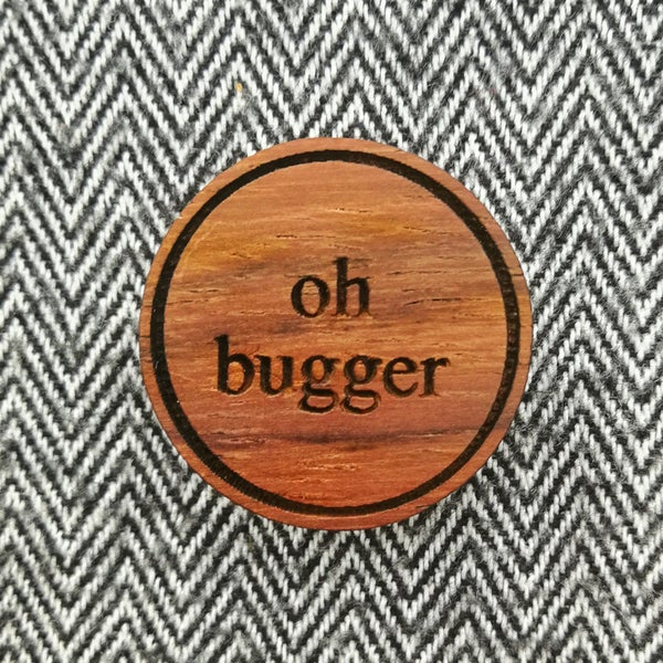 Image of NEW Sweary Wooden Brooches