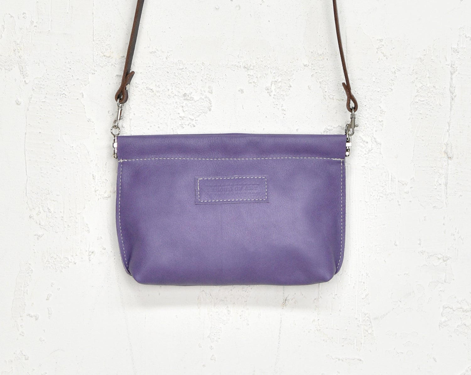 Image of Lavender Suede Leather Purse, Leather Clip Frame Pouch