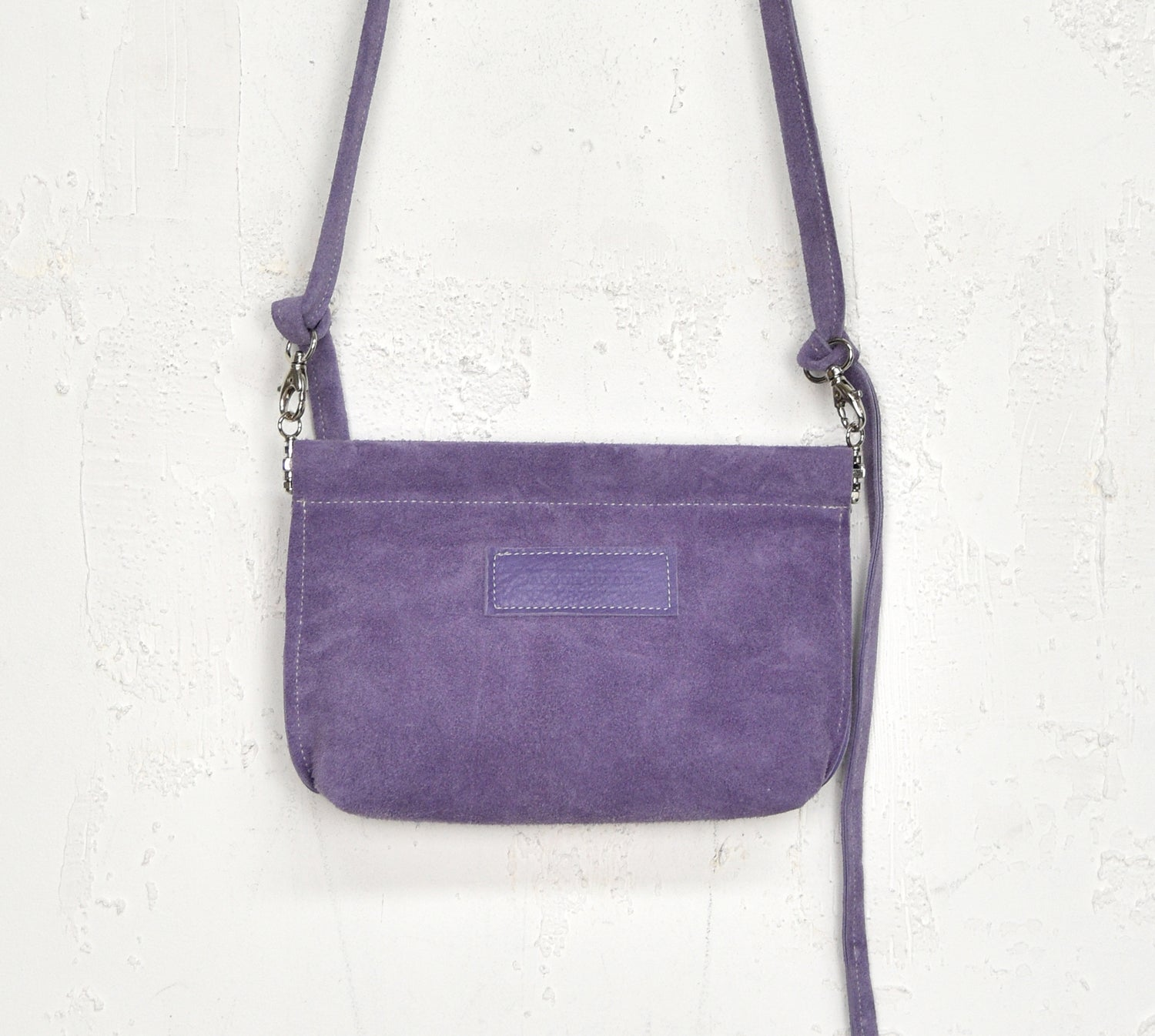 Image of Lavender Suede Purse, Leather Clip Frame Pouch