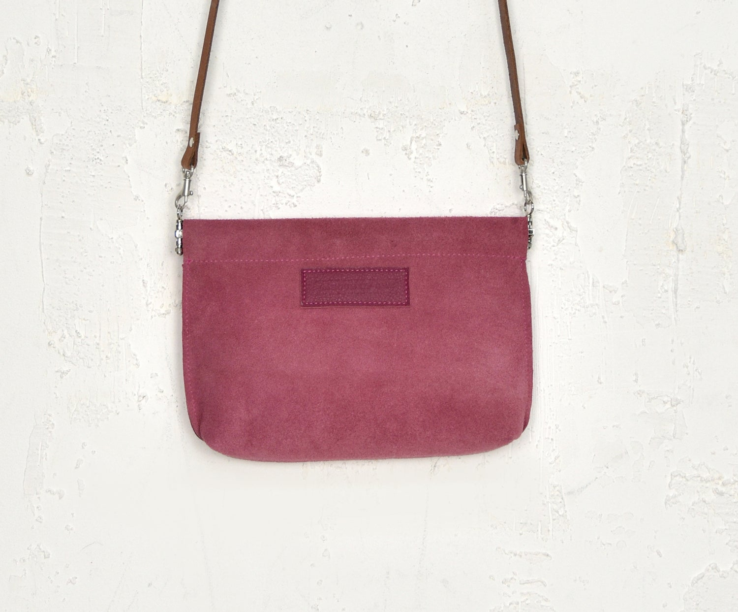 Image of Soft Rose Suede Leather Purse, Tactile Red Clip Frame Pouch