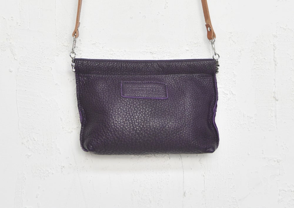 Image of Purple Eco Leather Purse, Lilac Clip Frame Pouch