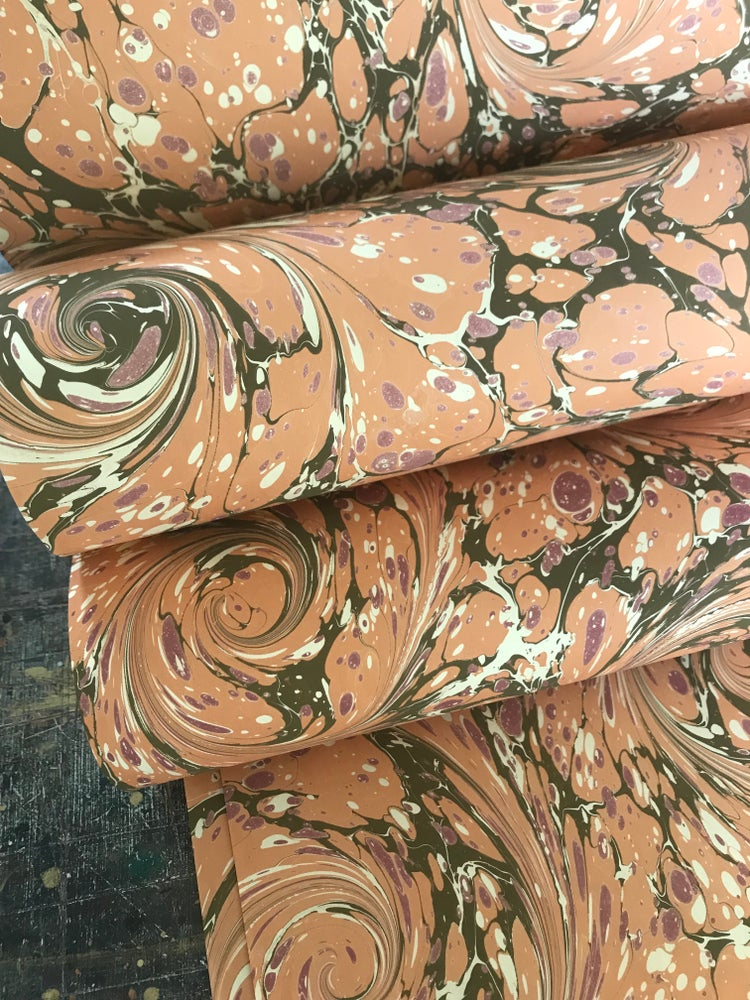 Image of Marbled Paper #33 Orange Modern Marbled Paper