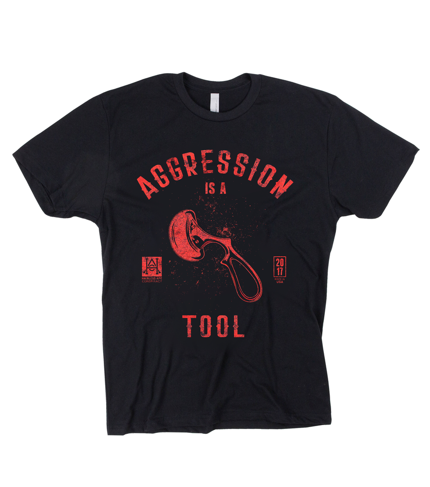 Image of HAC - Aggression is a Tool/We Hone Black Tee