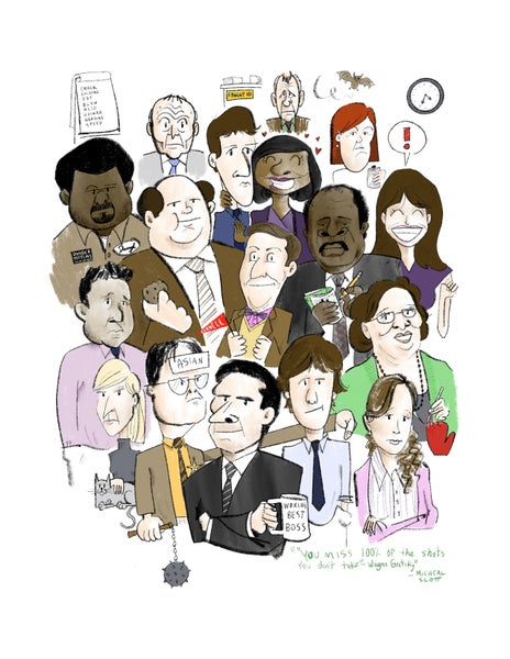 """Image of 'The Office' 8.5x11"""" Hand finished print."""